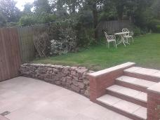 natural stone walling and new wide steps in moseley.