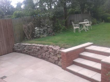 Natural Stone wall and new steps in moseley.