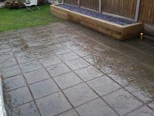 courtyard slabs and decking planter in Kings Heath