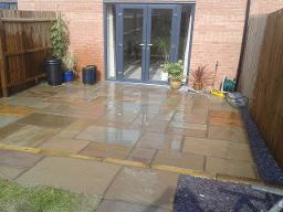 Indian Raj natural stone paving and blue slate in Longbridge.