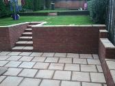 Walls, steps and sunken patio in Bearwood.