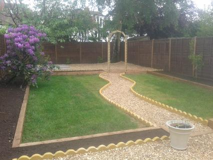 lawns pathways and scolloped edging