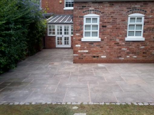 patio layed in traditional flag stones